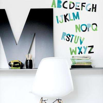 Alphabet Wall Decal in Grass Green, Teal and Black