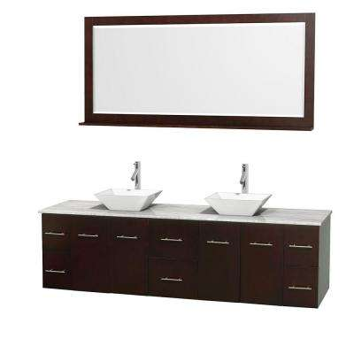 Centra 80 in. Double Vanity in Espresso with Marble Vanity Top in Carrara White, Porcelain Sinks and 70 in. Mirror