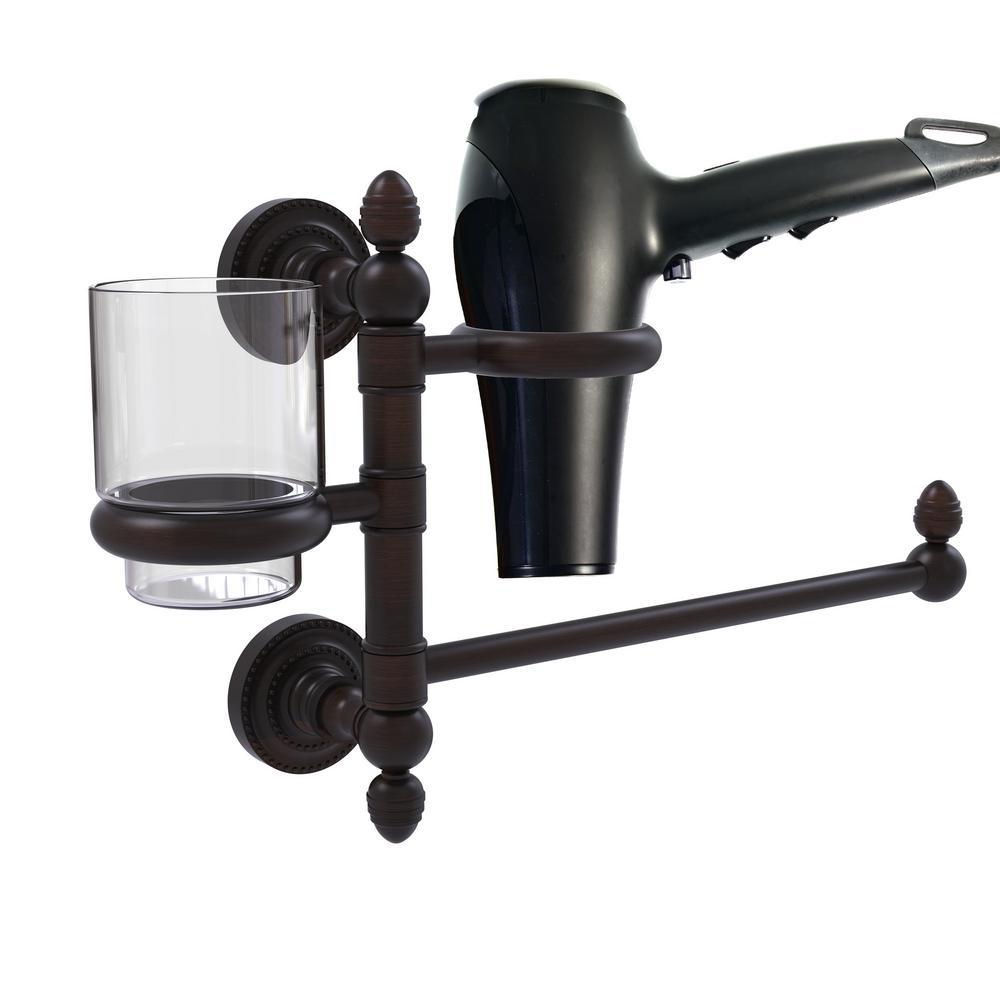 Allied Brass Dottingham Collection Hair Dryer Holder and Organizer in Satin Brass