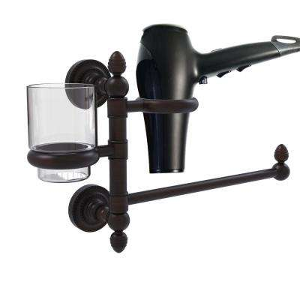 Dottingham Collection Hair Dryer Holder and Organizer in Satin Brass