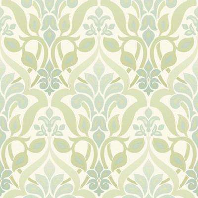 Fusion Green Ombre Damask Wallpaper