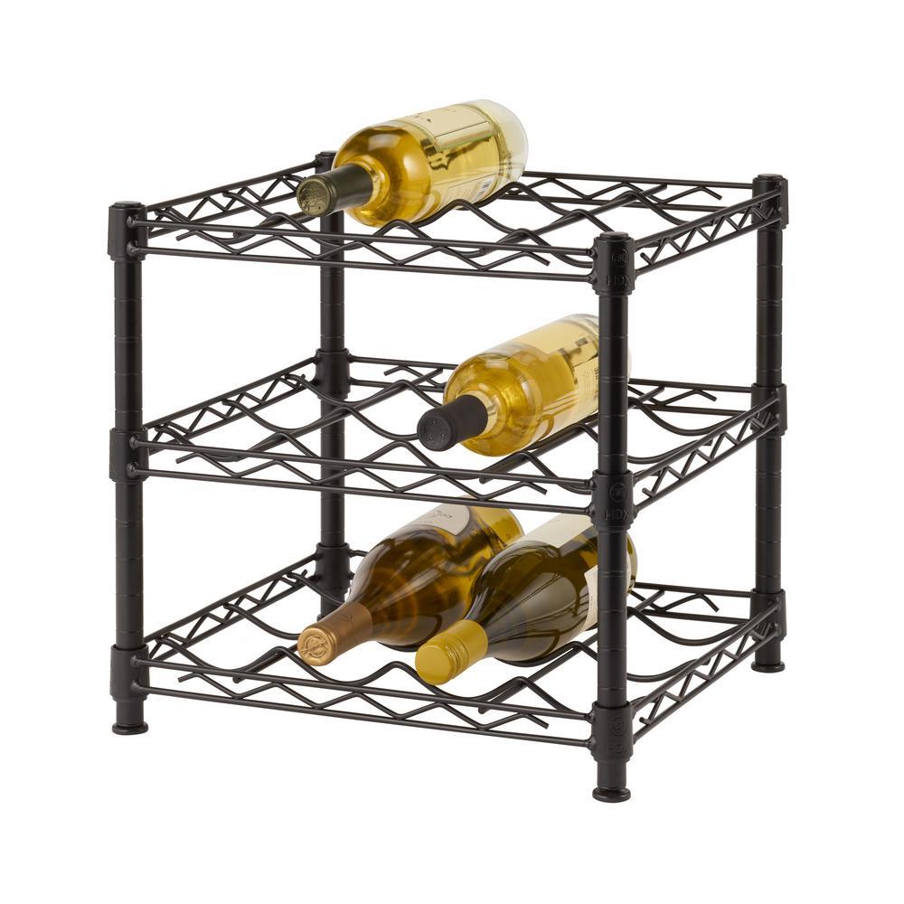 Hdx 12 Bottle Black Floor Wine Rack Hhbfpb 2601 The Home Depot