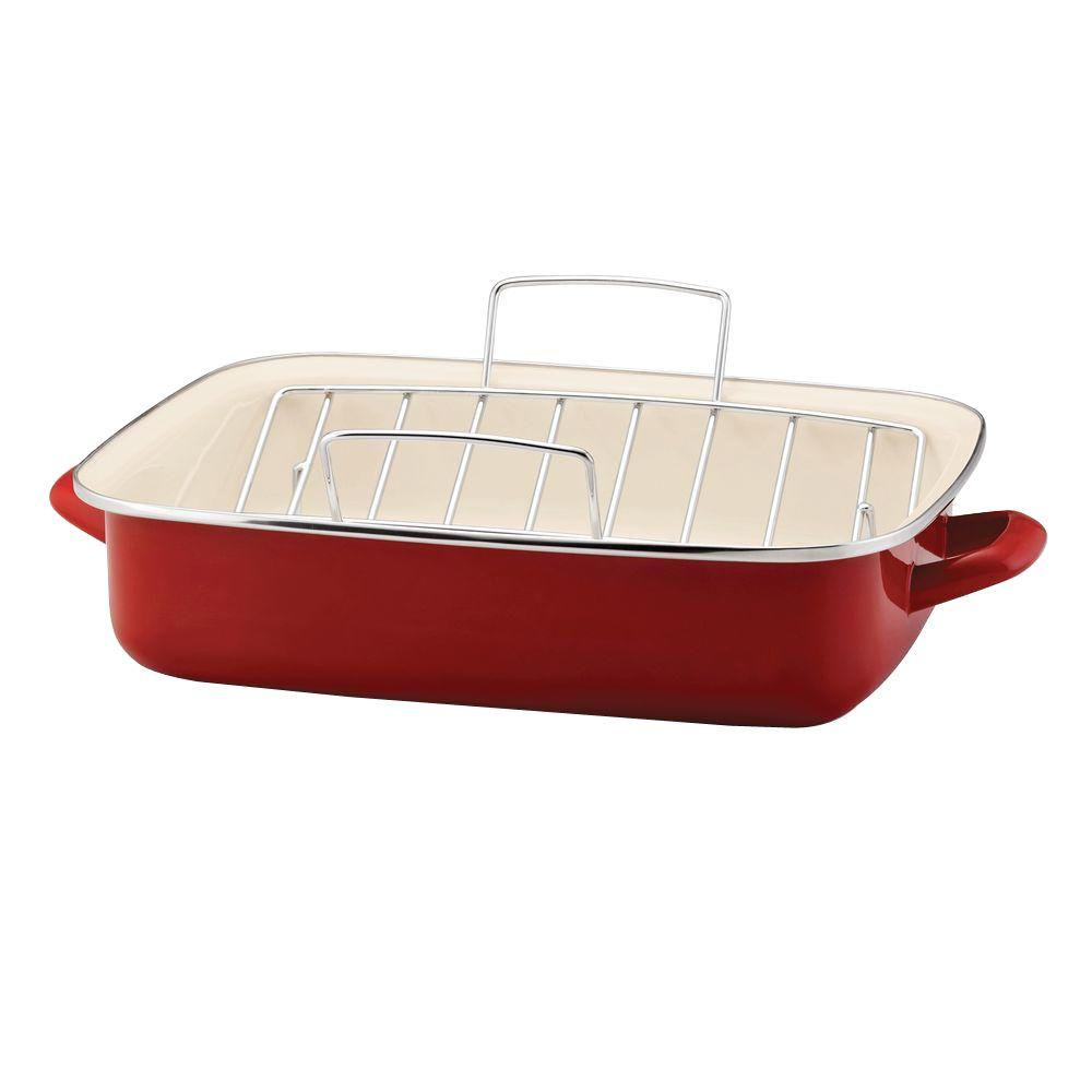 Rachael Ray 16-1/2 in. Nonstick Porcelain Enamel Roaster in Red with V-Shape Rack