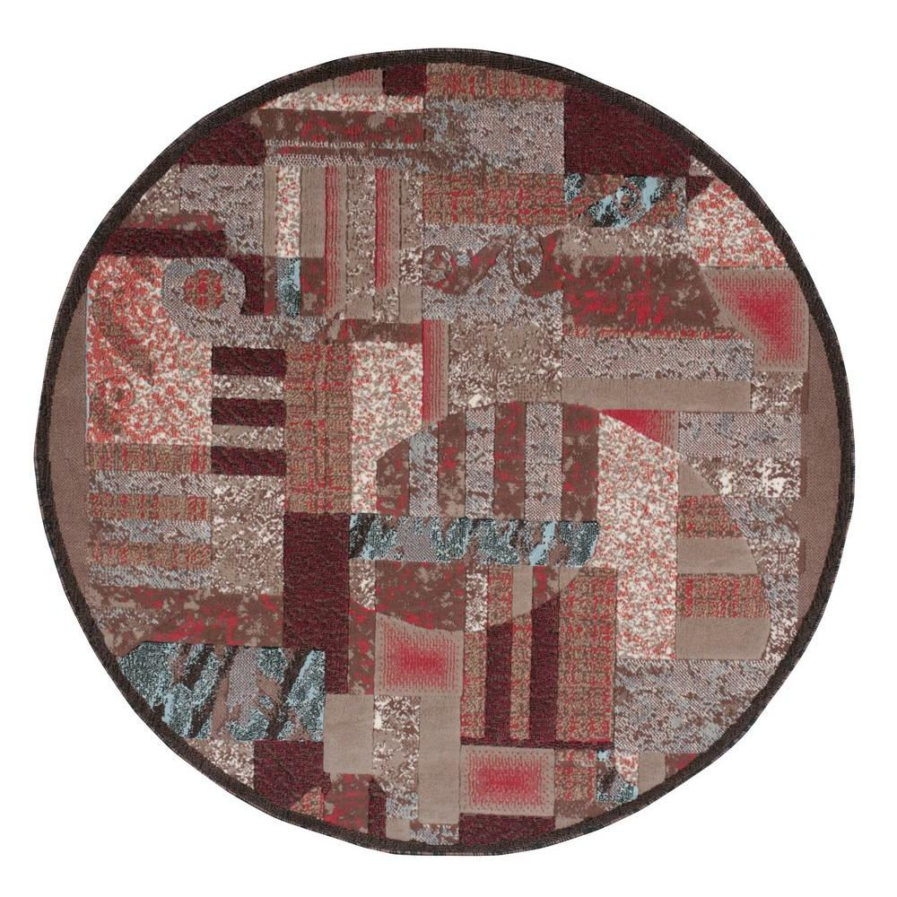 Modesto Abstract Brown 5 ft. 3 in. Round Area Rug