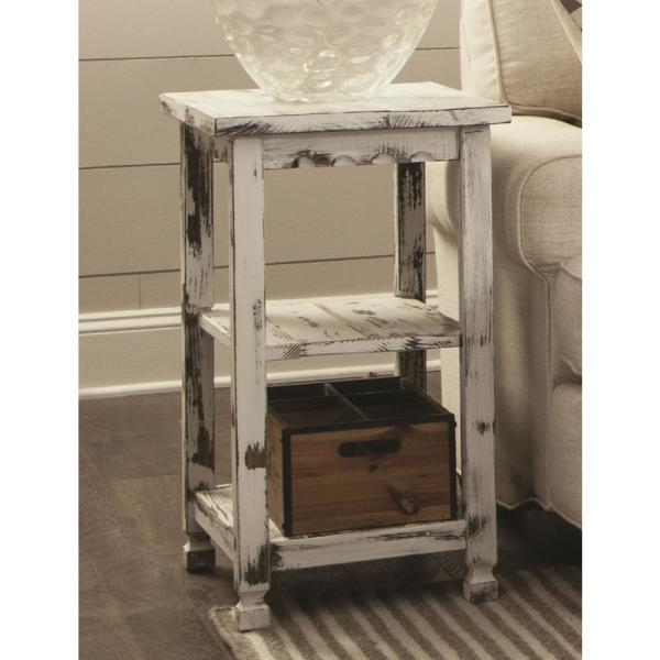 Alaterre Furniture Country Cottage White Antique 2 Shelf End Table ACCA02WA