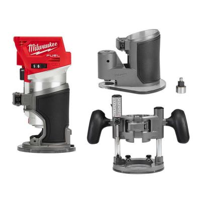 Milwaukee M18 FUEL 18-Volt Lithium-Ion Brushless Cordless Compact Router with Compact Router Offset Base & Router Plunge Base