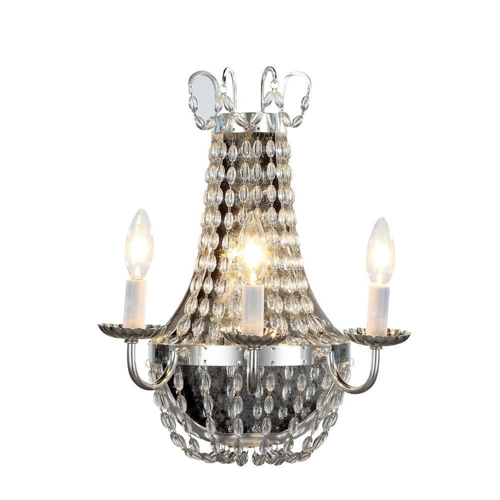 Roma 3-Light Silver Nickel Sconce