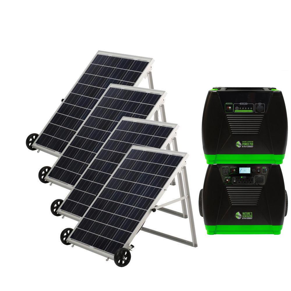 3600-Watt Solar Powered Portable Generator with 4 Solar Panels and Power Pod