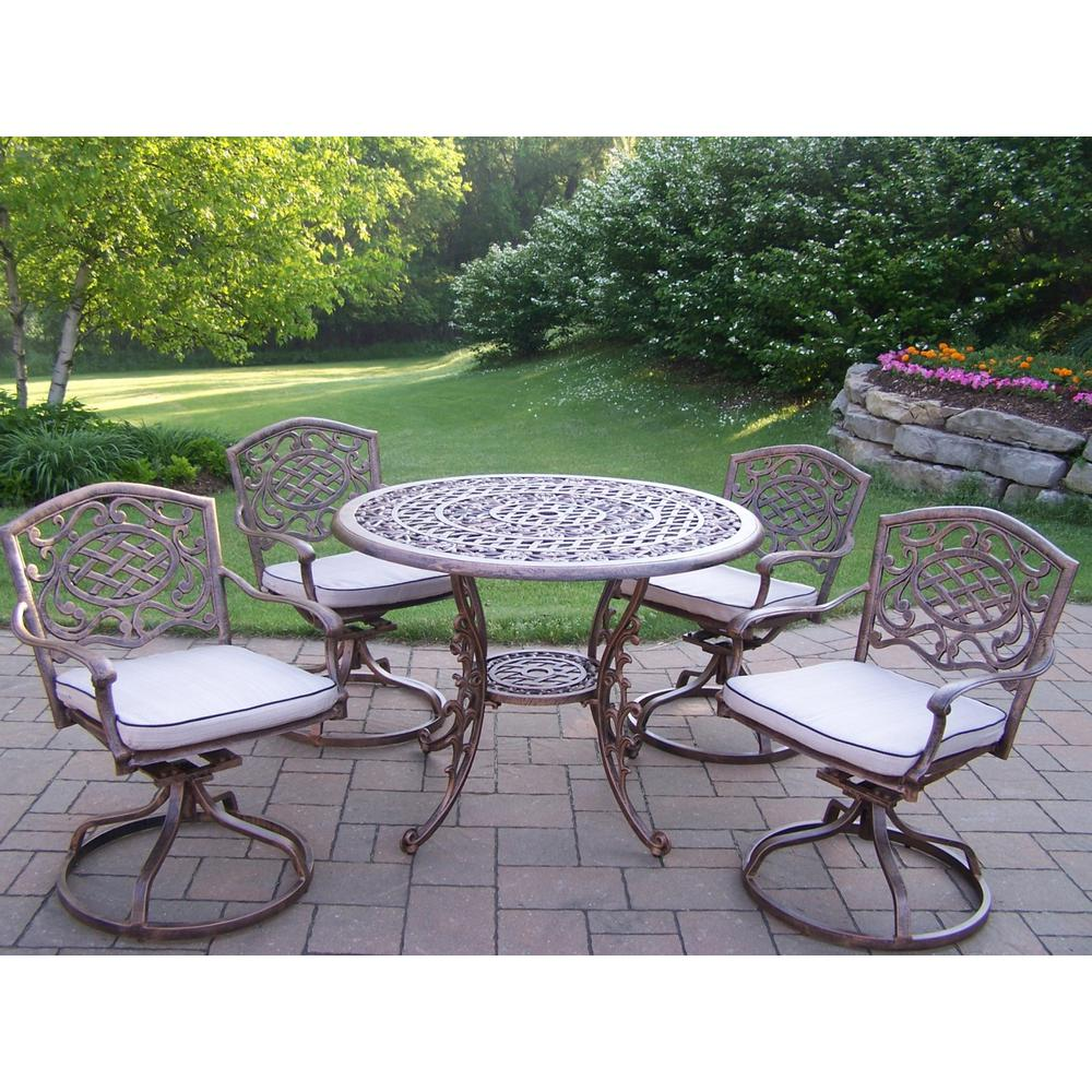 Mississippi 5-Piece Aluminum Swivel Rocker Outdoor Dining Set with Oatmeal