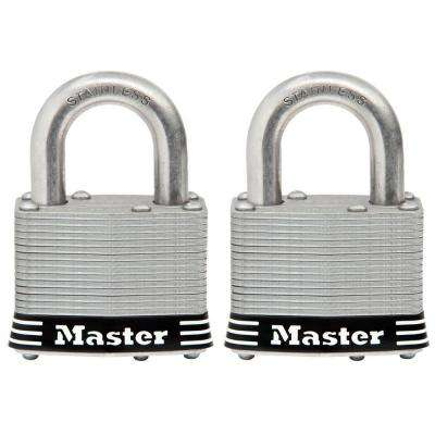 2 in. Laminated Stainless Steel Keyed Padlock with 1 in. Shackle (2-Pack)