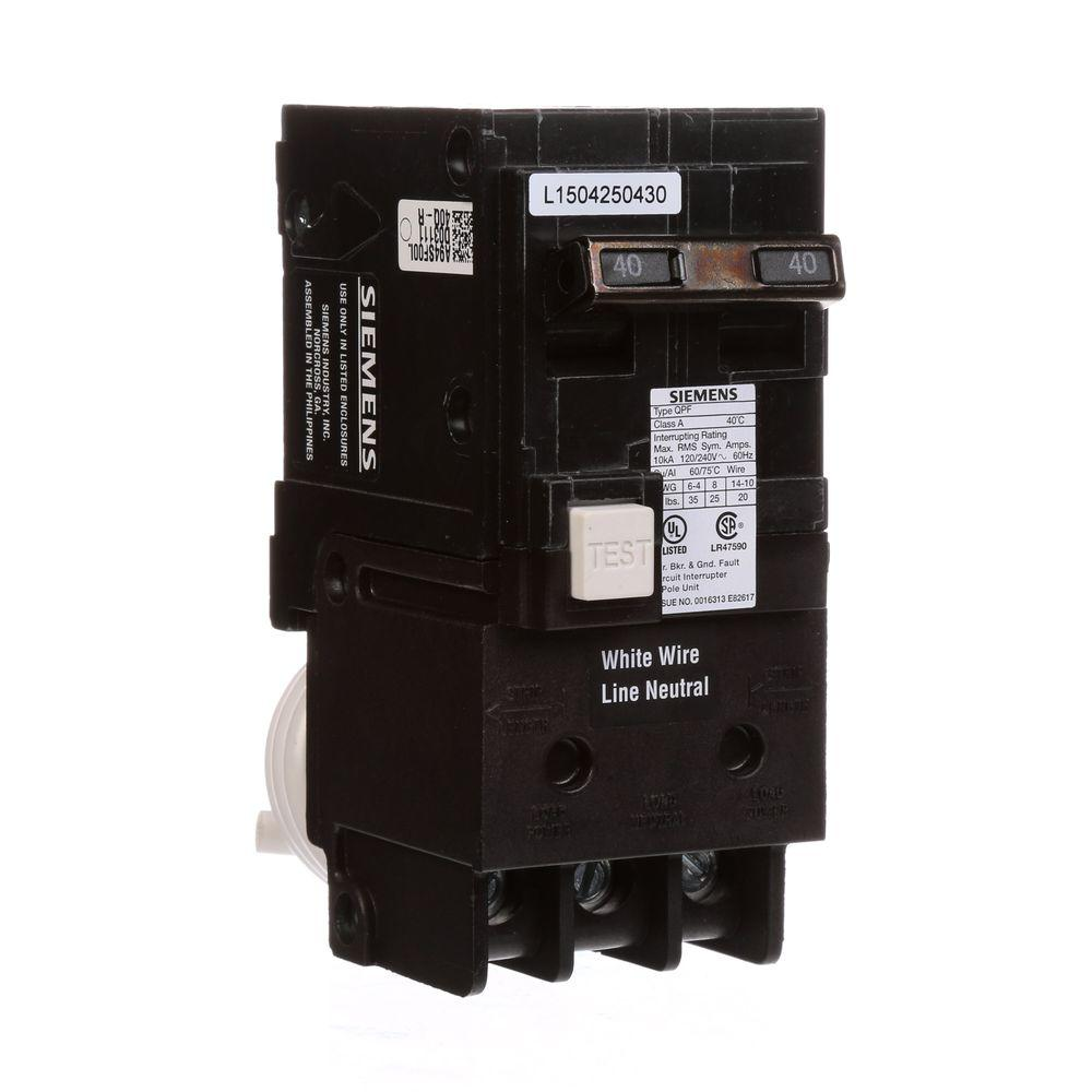 Siemens 40 Amp Double Pole Type Qpf Gfci Circuit Breaker Us2 Qf240ap The Home Depot