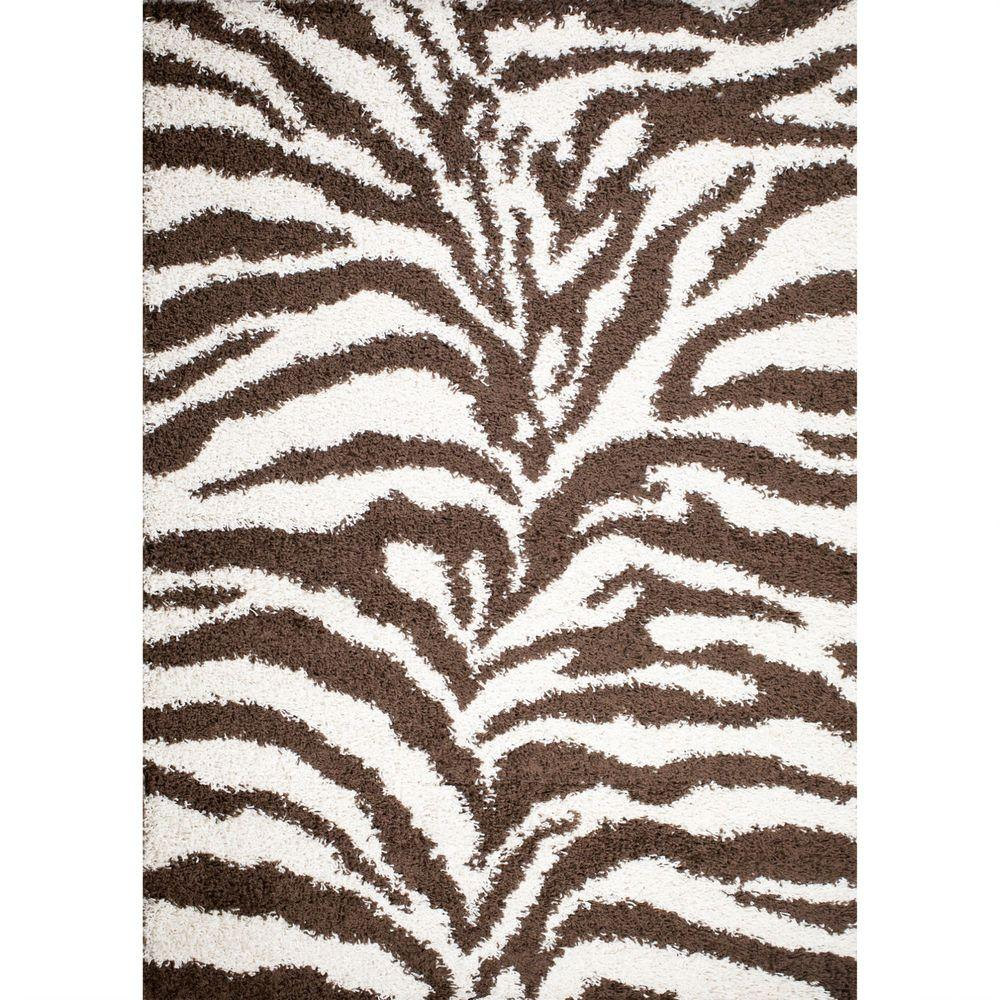 Concord Global Trading Shaggy Zebra Natural 3 ft. 3 in. x 4 ft. 7 in. Area Rug