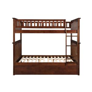 Columbia Bunk Bed Full Over Full with Twin Size Urban Trundle Bed in Walnut