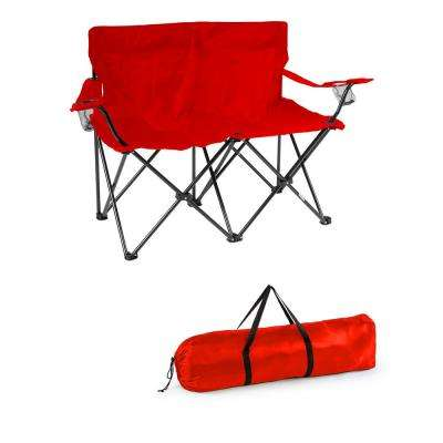 31.5 in. H Loveseat Style Red - Steel Framed Double Camp Chair