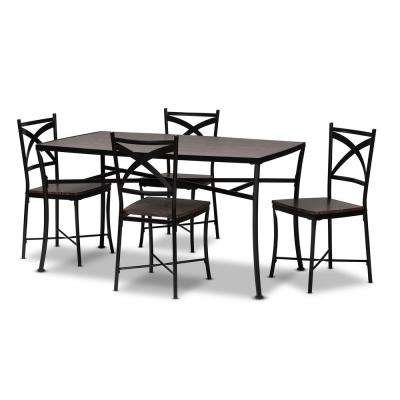 Josie 5-Piece Brown and Black Dining Set