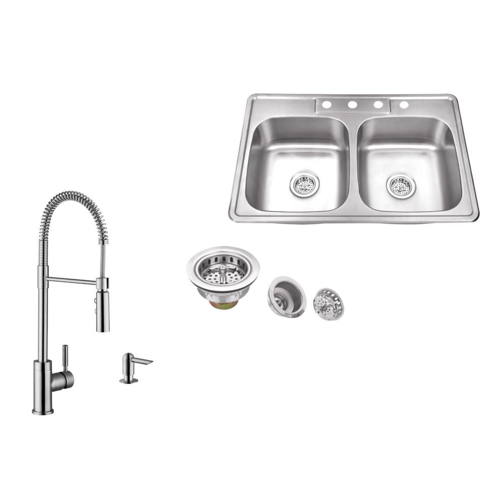 Ipt Sink Company Drop In 33 In 4 Hole Stainless Steel Kitchen Sink In Brushed Stainless With Pull Out Kitchen Faucet And Soap Dispenser