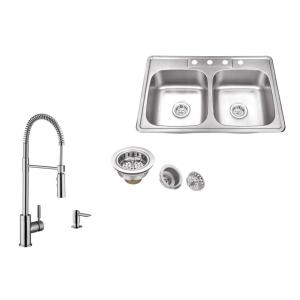 IPT Sink Company Drop-in 33 inch 4-Hole Stainless Steel Kitchen Sink in Brushed Stainless with Pull Out Kitchen Faucet... by IPT Sink Company