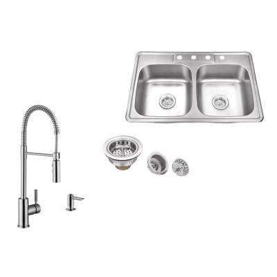 Drop-in 33 in. 4-Hole Stainless Steel Kitchen Sink in Brushed Stainless with Pull Out Kitchen Faucet and Soap Dispenser