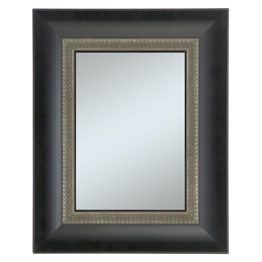 Alpine Art & Mirror Welch Family 27 in. x 33 in. Black Framed Wall Mirror with Decorative Lip