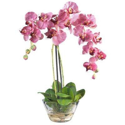 Double Phalaenopsis with Glass Vase Silk Flower Arrangement