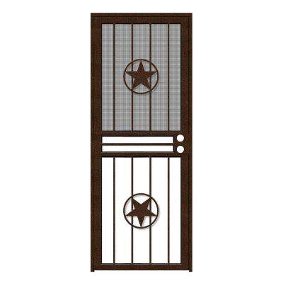 32 in. x 80 in. Lone Star Copperclad Recessed Mount All Season Security Door with Insect Screen and Glass Inserts
