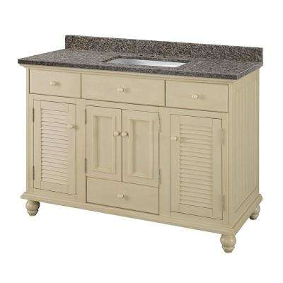Cottage 49 in. W x 22 in. D Vanity in Antique White with Granite Vanity Top in Sircolo with White Sink