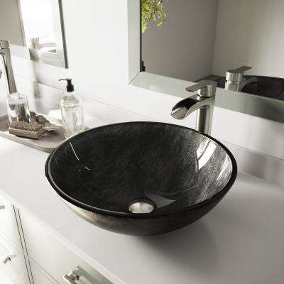 Glass Vessel Bathroom Sink in Gray Onyx and Niko Faucet Set in Brushed Nickel