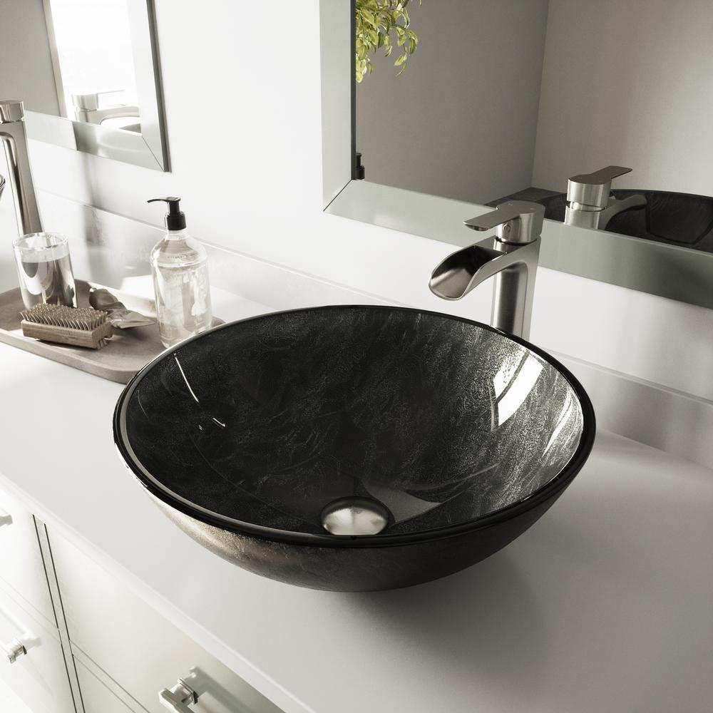 VIGO Glass Vessel Bathroom Sink in Gray Onyx and Niko Faucet Set in ...