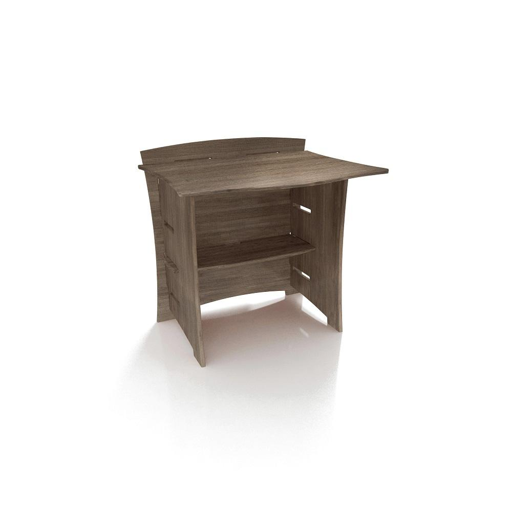 29 in. Desk Connecting Bridge with Solid Wood in Grey Driftwood