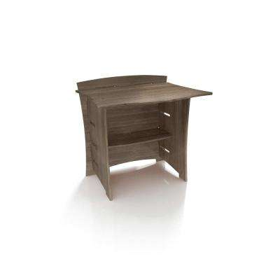 29 in. Desk Connecting Bridge with Solid Wood in Grey Driftwood Color