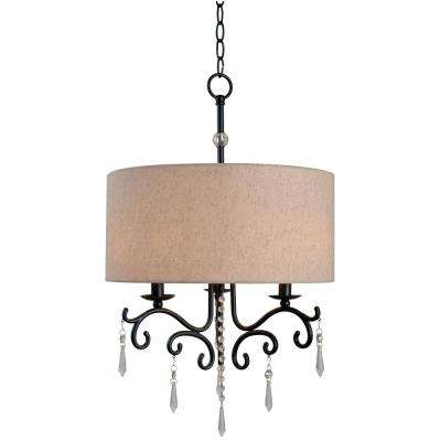 Lucille 3-Light Bronze Chandelier with Beige Cotton Fabric Shade