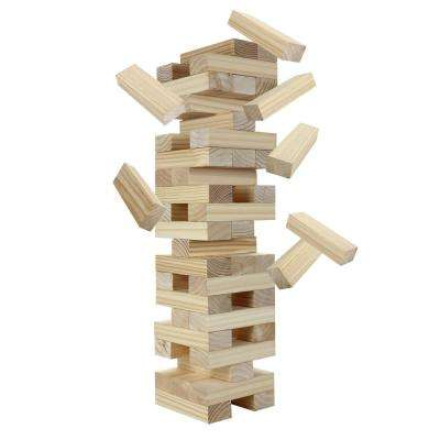 Block Out Wood Toppling Tower Stacking/Collapsing Set with Rip-Resistant Bag and 54 Handcrafted Pine Blocks