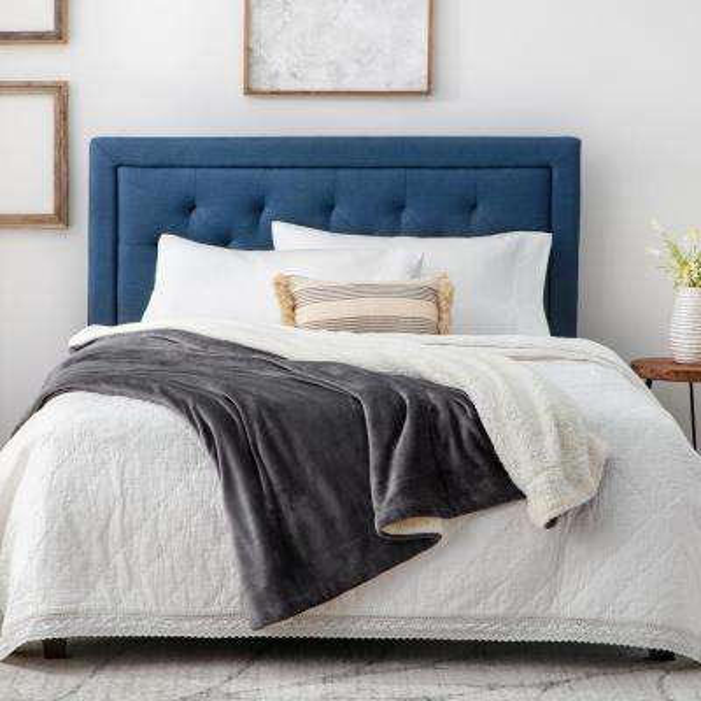 Reversible Grey Fleece and Sherpa Throw Blanket