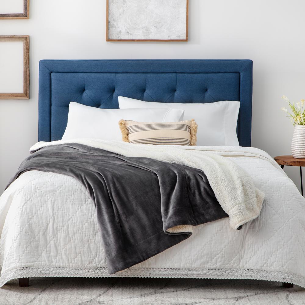 Reversible Grey Fleece Twin and Sherpa Blanket