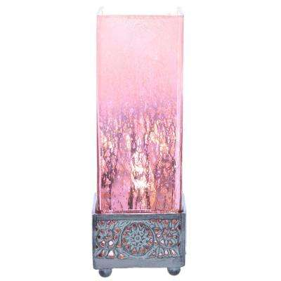 12.9 in. Pink Accent Lamp with Square Studio Art Mercury Glass Shade