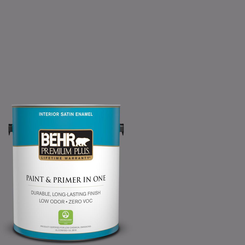 1-gal. #BXC-58 Stormy Gray Satin Enamel Interior Paint