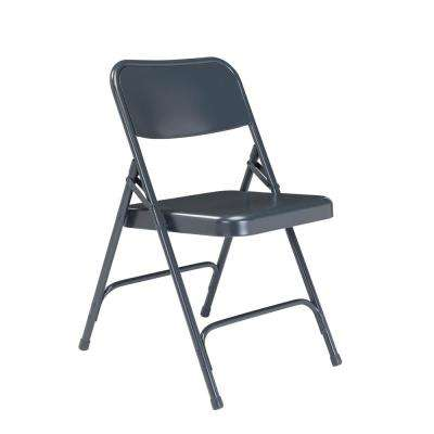 200 Series Blue Premium All-Steel Double Hinge Folding Chair (4-Pack)