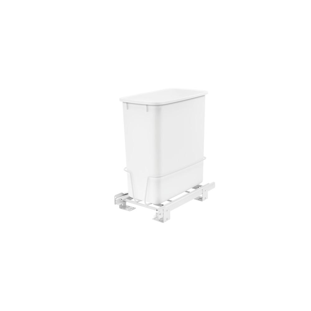 Rev-A-Shelf 16.62 in. H x 8.5 in. W x 14.62 in. D Single 20 Qt. Pull-Out White Waste Container with Adjustable Frame