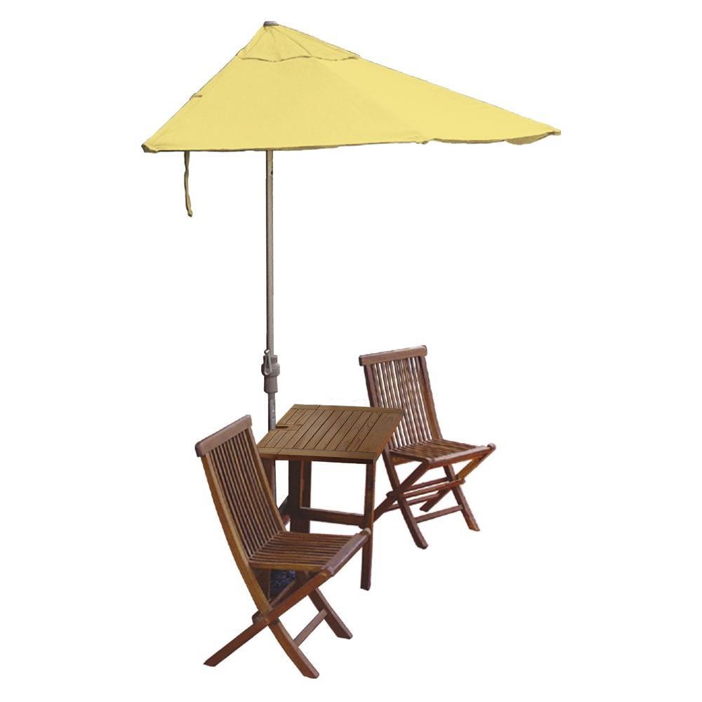 Blue Star Group Terrace Mates Villa Premium 5-Piece Patio Bistro Set with 9 ft. Yellow Olefin Half-Umbrella