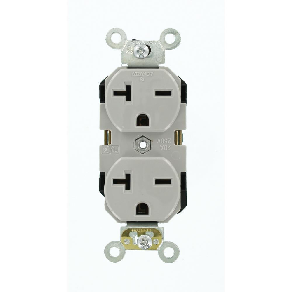 Industrial Möbel Outlet : leviton 20 amp industrial grade heavy duty self grounding duplex outlet gray 5462 gy the home ~ Yuntae.com Dekorationen Ideen