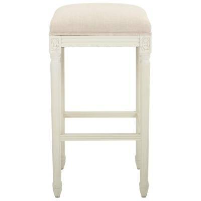 Jacques 31 in. Natural Cushioned Bar Stool in Antique Ivory