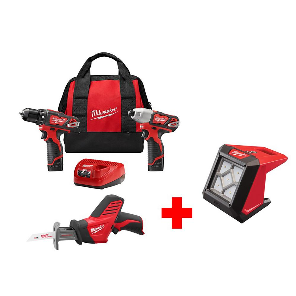 M12 12-Volt Lithium-Ion Cordless Combo Kit (3-Tool) with Free M12 Flood
