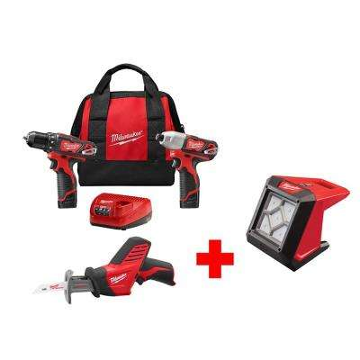 M12 12-Volt Lithium-Ion Cordless Combo Kit (3-Tool) with Free M12 Flood Light