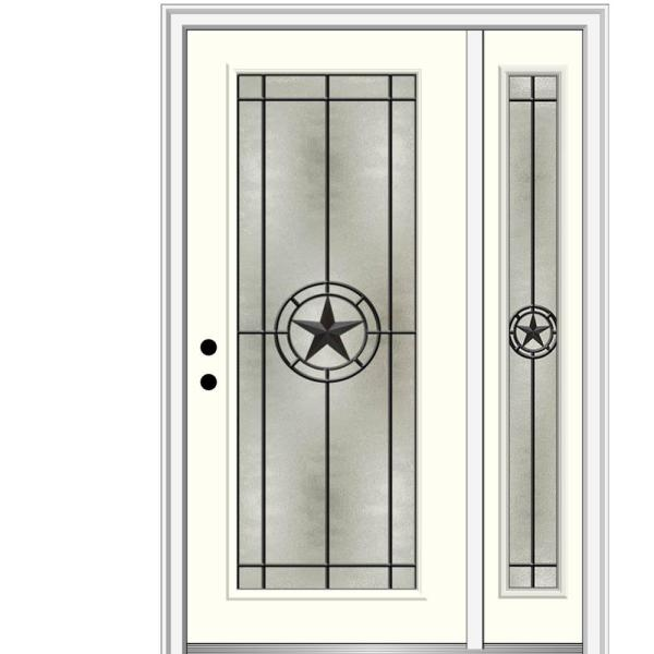 Mmi Door Elegant Star 53 In X 81 75 In Full Lite Decorative Glass Alabaster Painted Fiberglass Prehung Front Door Z03745742r The Home Depot