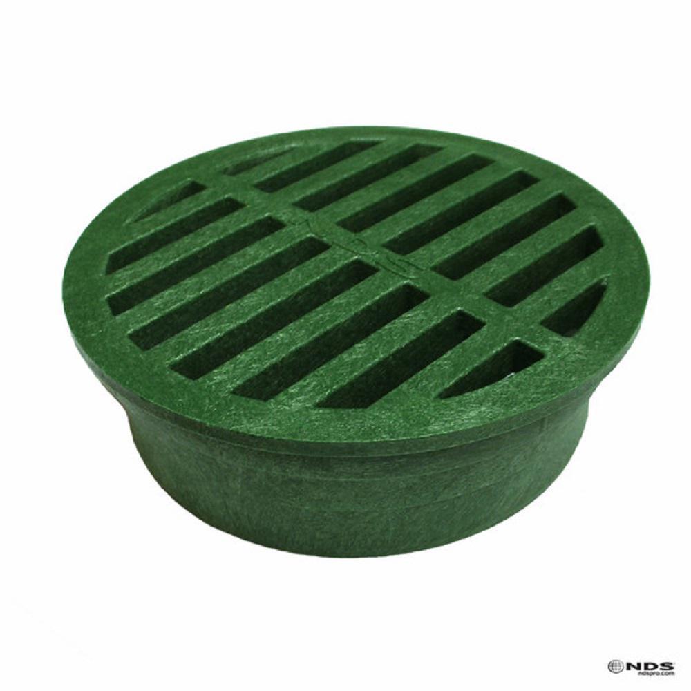 4 in. Plastic Green Structural Foam Polyolefin Round Grate