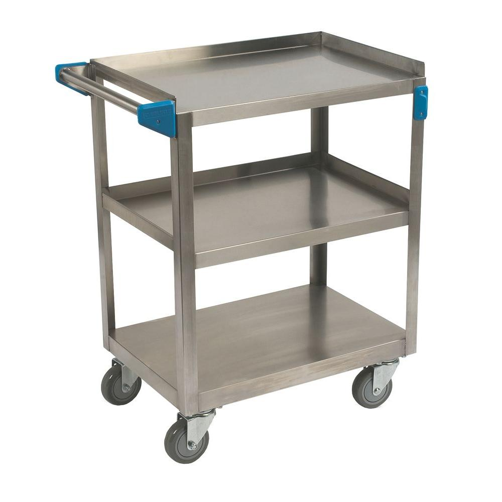 Carlisle 300# Stainless Steel 3 Shelf Utility Cart