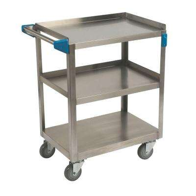 32.5 in. H x 15.5 in. W x 24 in. D Stainless Steel 3-Shelf Utility Cart
