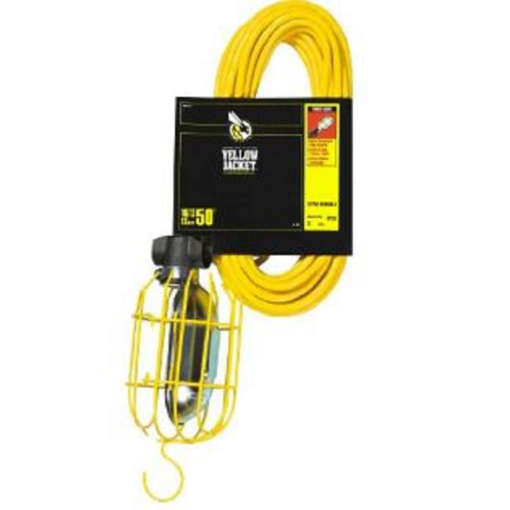 Yellow Jacket 75-Watt 50 ft. 16/3 SJT Incandescent Portable Guarded Trouble Work Light with Dual Hanging Hooks