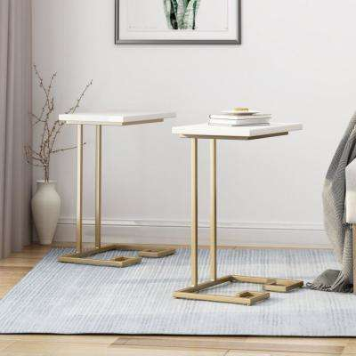 Ariade White Faux Wood and Champagne Gold Iron C-Shaped Side Tables (Set of 2)