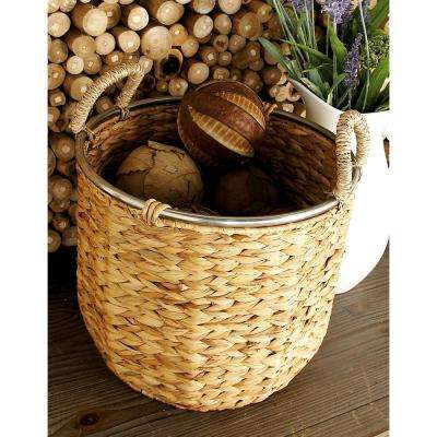 16 in. 12 in. Natural Tan Brown Seagrass Cylindrical Basket with Wrapped Handles and Silver Rim (Set of 2)